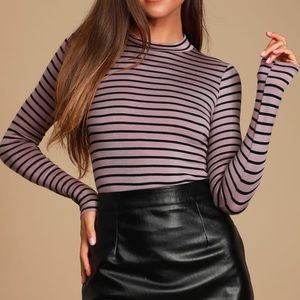 NEW Lulus Mock Neck Black Purple Striped Top